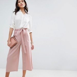 Pants - ASOS linen culottes pants in pink blush